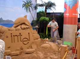 CORPORATE LOGOS IN SAND